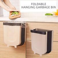 Wall Mounted Folding Waste Bin Kitchen Cabinet Door Hanging Trash Garbage Can *