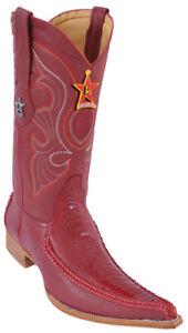 Los Altos Red Braid Ostrich Leg W / Deer 6X Toe Cowboy Boots 96TR0512 Size 7 EE