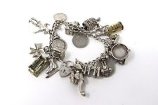 A Vintage Heavy Sterling Silver 925 Charm Bracelet with Charms 95g