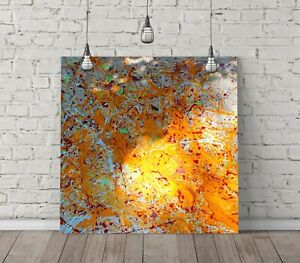 JACKSON POLLOCK 17 SQUARE CANVAS WALL ART FLOAT EFFECT/FRAME/POSTER PRINT-YELLOW
