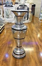 Italian Floor Standing Vase With Silver & Black Mirror Design Ceramic Vase 83cm