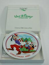 Schmid Walt Disney Character 1980 Christmas Plate w/Box Goofy Mickey Donald