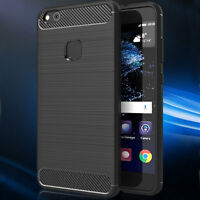 Custodia cover Rugged Armor Carbon Design per Huawei P10 Lite case TPU nera