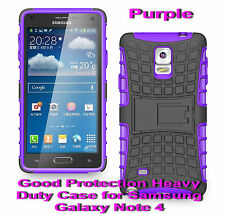 For Samsung Galaxy Note 4 Purple Heavy Duty Strong Protective Case Cover Stand
