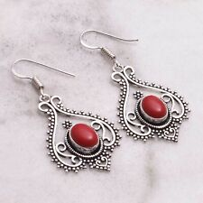 "Coral Handmade Drop Dangle Earrings Jewelry 1.76"" AE 77154"