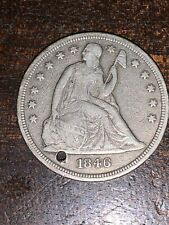 1846 USA SILVER SEATED LIBERTY DOLLAR Holed Nice Type Coin