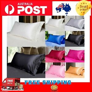 2X Satin Silk Pillow Cases Cushion Cover Pillowcase Home Decor Luxury 2021 NEW