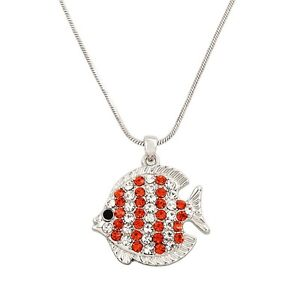 """Tropical Fish Charm Pendant Necklace - Sparkling Crystal - 17"""" Chain - 7 Colors"""