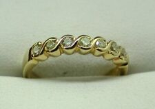 Lovely 18 Carat Gold 7 Stone Champagne Diamond Half Eternity Style Ring Size O