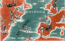1950's Swissair system map postcard.