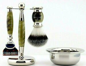 Mens's Vintage Style Shaving Gift Set for Men Brush Bowl Razor Stand Kit Mug