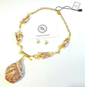 Gold Necklace Coral Stones SET Rhinestones by Patricia Adelson ONE OF A KIND