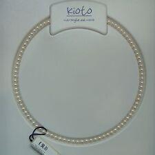 Collana Filo Perle Kioto diametro 4 mm Chiusura Oro Bianco 105B/0