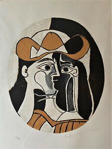 """Vintage Original Picasso Lithograph """"Femme Au Chapeau"""" - 204/500 - Signed"""