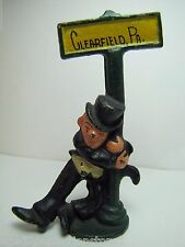 Old Cast Iron Clearfield Pa Souvenir Bottle Opener figural drunk on a lamp post