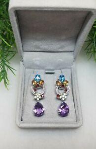 Vintage Gorgeous Designer 14K White Gold Drop Dangle Earrings Semiprecious Stone