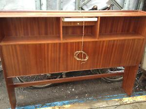 Vintage retro Mid Century wooden teak double bed frame bedside cabinet 60s 70s