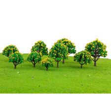 10x Trees w/Yellow Flower Model Train Layout Wargame Diorama 1:75-1:500 HO N