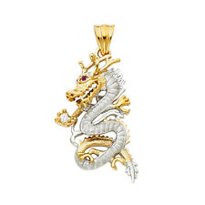 14K Real Two Tone Gold CZ Dragon Pendant Real Two Tone Dragon Pendant