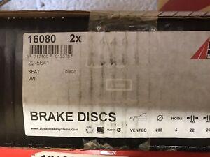 New Boxed ABS 16080 VW Corrado MK3 Golf 280mm VR6 Brake Discs