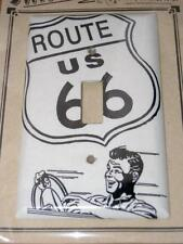 NEW Route 66 Light Switch Wall Plate, 1950's Man Graphic, White/Black