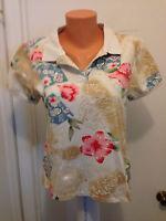caribbean joe let go womens m medium shirt top hawaiian hibiscus