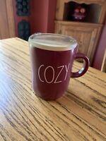 New RAE DUNN Fall LL COZY Burgundy Maroon Mug Wood Coaster Lid Magenta