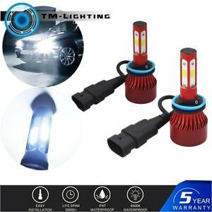 2x 4-Side H8 H9 H11 LED Headlight 6000K 33000LM Kit Low Beam Bulbs High Power