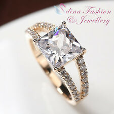 18K Yellow Gold Plated  2.0 Carat Princess Cut Double V Band Engagement Ring