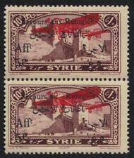"""SYRIA 1926 """"SECOUR AV REFUGEE"""" MISSING X IN """"AUX"""" IN PAIR W/NORMAL SG 211a & 211"""
