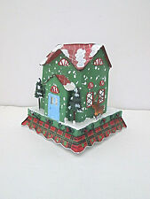 Tracy Porter metal cottage house Christmas votive holder reindeer