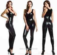 Black bodysuit vest clubwear Mistress PVC club disco wet look fits 8/10/12