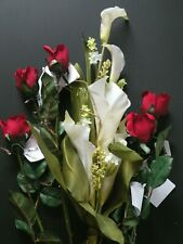 Home Interiors Silk Calla Lilies and Red Roses Long stem Flowers