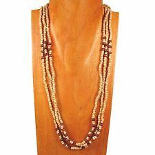 "25"" Antique Bone Wood Glass Seed Bead Multi Strand Handmade Necklace"