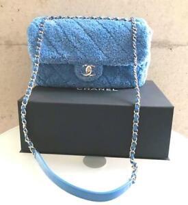 Chanel Crossbody Flap Bag W Chain Shoulder Purse Blue Lambskin Mixed fiber New