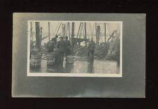 Lincolnshire Lincs GRIMSBY Fishermen dock scene 1907 RP PPC