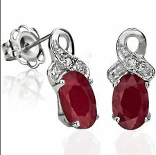 RUBY & DIAMOND EARRINGS SILVER. 1.27 CWT NATURAL WHITE GOLD LOOK BRIDAL ANNIVERS