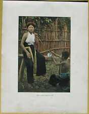 ca.1895 French photochrom VIETNAM (TONKIN): WOMAN SMOKING OPIUM (#46)