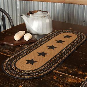 "VHC Brands Primitive 36""x13"" Stars Table Runner Black Jute Kitchen Table Decor"