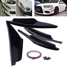 4X Universal Black Front Bumper Lip Splitter Fin Body Spoiler Canards Trim Kit