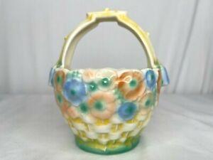 Vintage Czechoslovakia Pottery Basket Planter Pastel Floral Red Dime Mark Easter