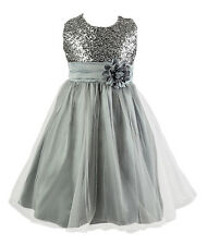 UK Girls Sequin Dress Flower Princess Sleeveless Formal Party Wedding Bridesmaid Silver 9-10 Years