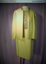 1960s Beaded Evening Suit 2 Piece Dress with Matching Jacket Wheat