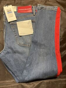 $148 NWT CALVIN KLEIN JEANS Men's Red Taped Slim-Fit Stretch Denim Jeans 36 X 32