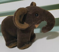 MELBOURNE ZOO ELEPHANT PLUSH TOY! CUTE! CURLED TRUNK BROWN! 21CM LONG