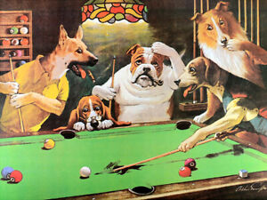 For Dogs Playing Pool Art Fabric Poster HD Print Home Wall Decor Multi Sizes