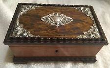 VINTAGE REUGE SILVER & WOOD MUSICAL JEWELRY BOX #917 WITH SWISS MOVEMENT