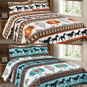 3 Piece SouthWest Aztec Running Horses Dreamcatcher Quilt Rustic Bedspread NEW