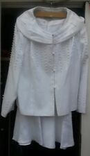 GMI Special Occasion Long Beaded Skirt Suit in White Color US  Size 24W