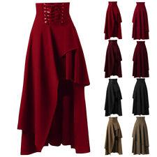Women Lace Up High Waist Gothic Asymmetric Long Skirt Flared Steam Punk Skirt UK
